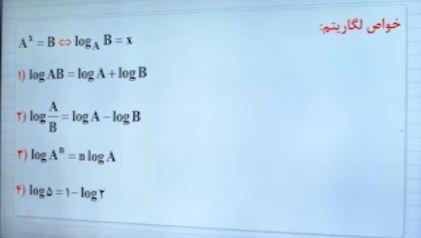 فرمول ها و خواص لگاریتم